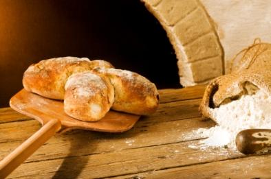 bakery scene with rustic swiss bread