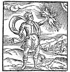 prometheus-The act of Prometheus stealing the fire of the gods, as given in Pierio Valeriano's 'Hieroglyphica' (Lyon, 1586).
